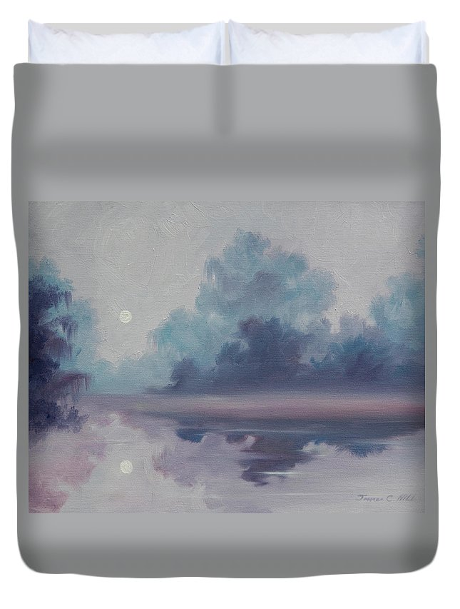 Nature; Lake; Sunset; Sunrise; Serene; Forest; Trees; Water; Ripples; Clearing; Lagoon; James Christopher Hill; Jameshillgallery.com; Foliage; Sky; Realism; Oils; Moon; Moonlight; Reflection; Blue; Lapis; Duvet Cover featuring the painting Mystic Moonlight by James Christopher Hill
