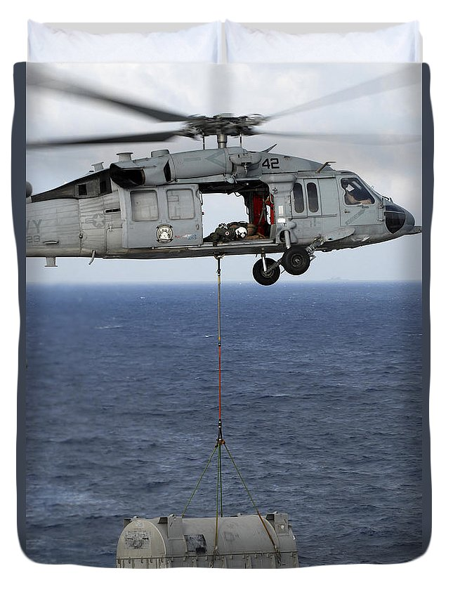 South China Sea Duvet Cover featuring the photograph N Mh-60s Sea Hawk En Route by Stocktrek Images