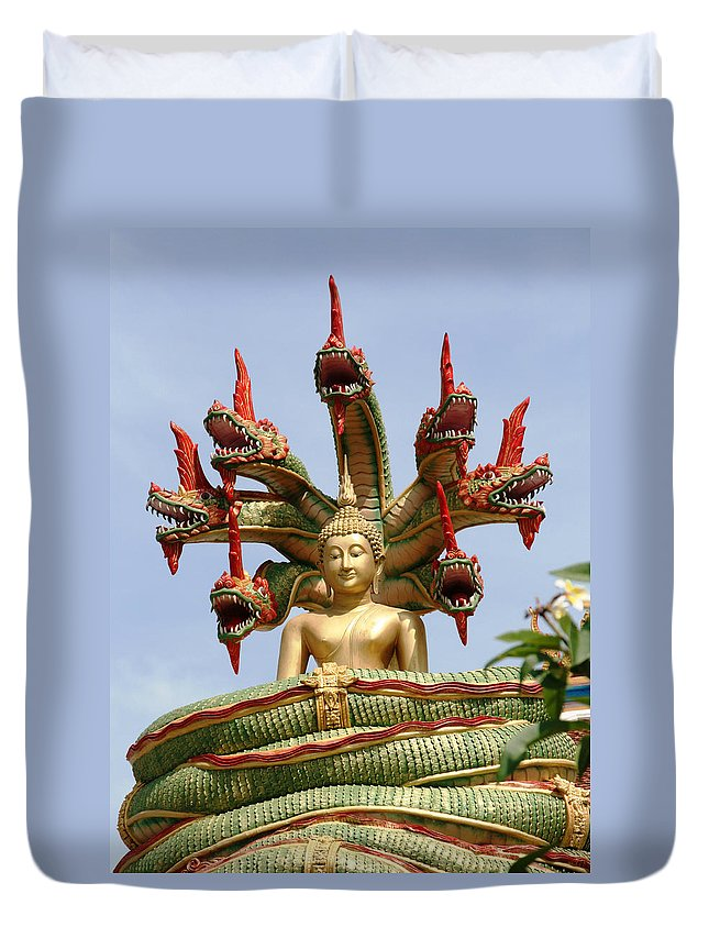Snake Head Duvet Cover featuring the photograph Naga by Adrian Evans