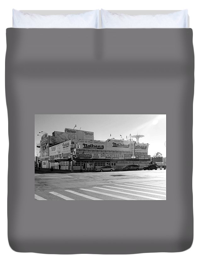 Brooklyn Duvet Cover featuring the photograph Nathan's Original In Black And White by Rob Hans