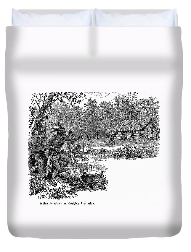 1640 Duvet Cover featuring the photograph Native American Attack, C1640 by Granger