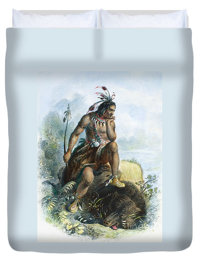 1870 Duvet Cover featuring the photograph Native American Hunter by Granger