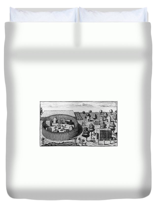 1705 Duvet Cover featuring the photograph Native American Village by Granger