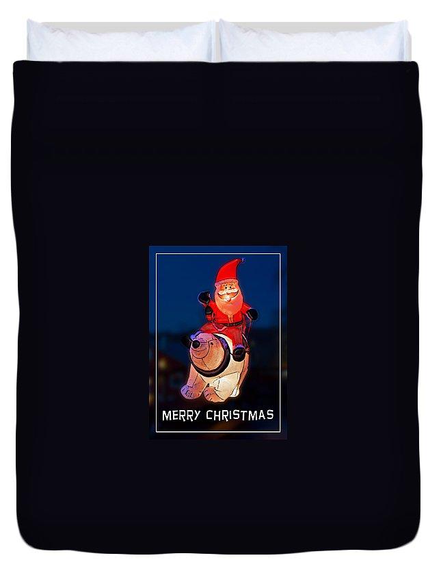 Christmas Duvet Cover featuring the photograph Nature Center Santa Card by John Haldane