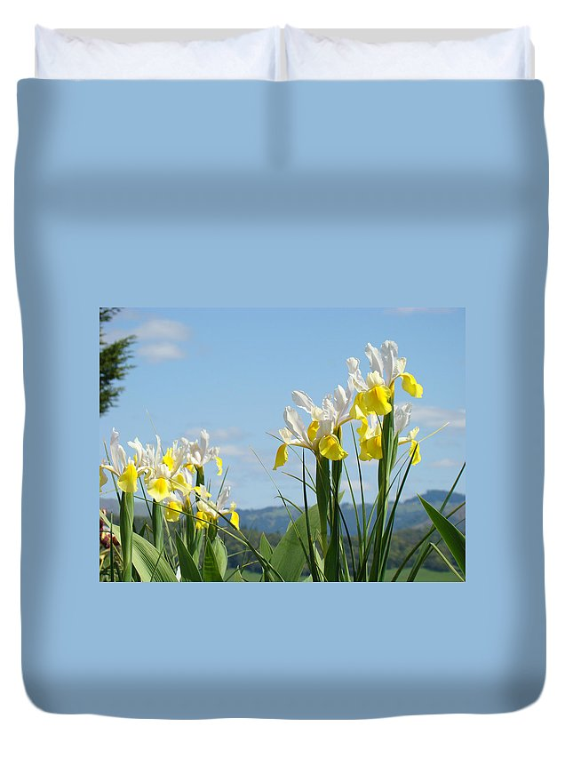 Irises Duvet Cover featuring the photograph Nature Photography Irises Art Prints by Baslee Troutman