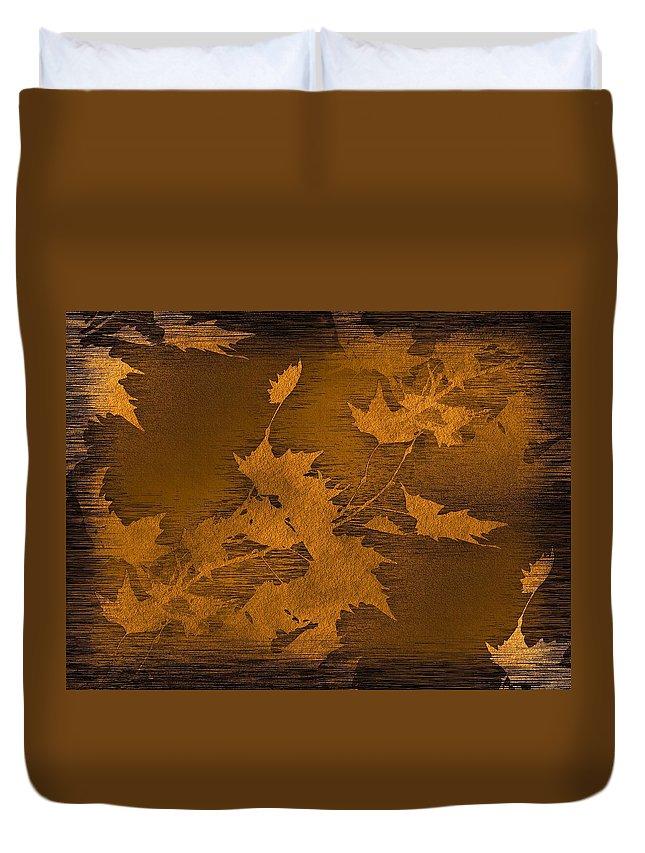 Leaf Duvet Cover featuring the digital art Natures Gold Leaf by Tim Allen