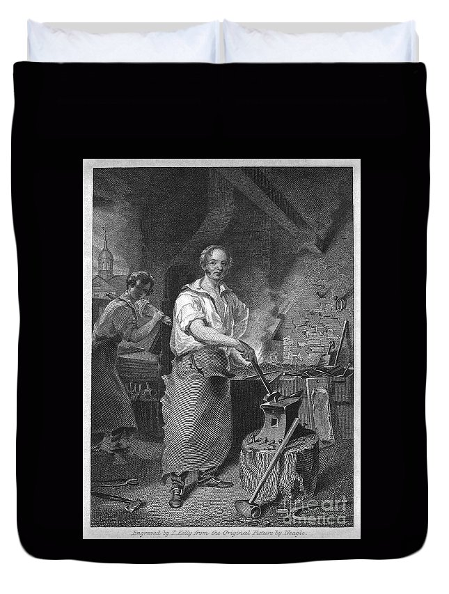 1829 Duvet Cover featuring the photograph Neagle: Blacksmith, 1829 by Granger