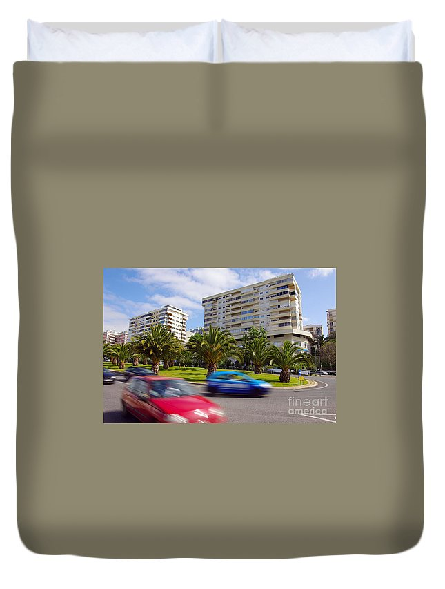 Abstract Duvet Cover featuring the photograph Neighborhood Unrest by Carlos Caetano