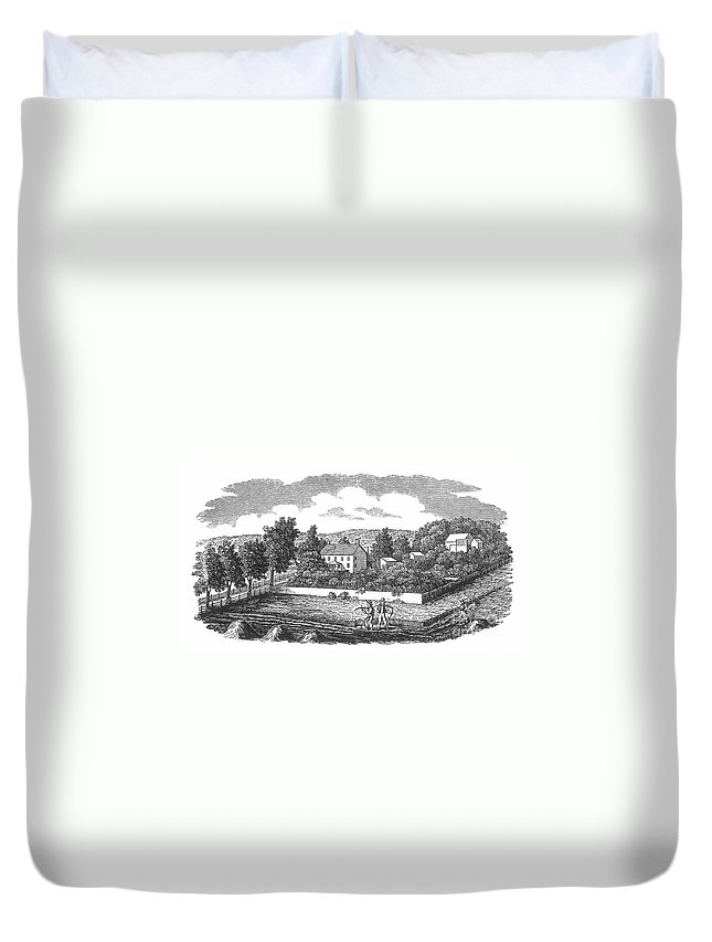 1810 Duvet Cover featuring the photograph New Jersey Farm, C1810 by Granger