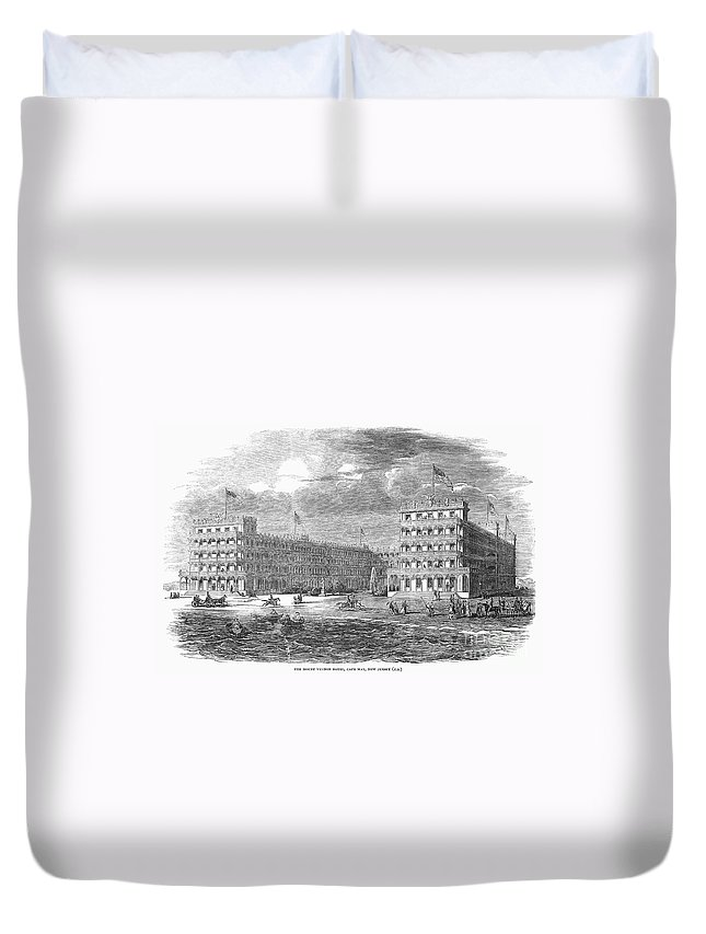 1853 Duvet Cover featuring the photograph New Jersey Hotel, 1853 by Granger