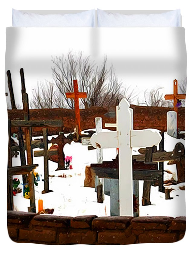 Cemetery Duvet Cover featuring the photograph New Mexico Christmas Eve by Terry Fiala