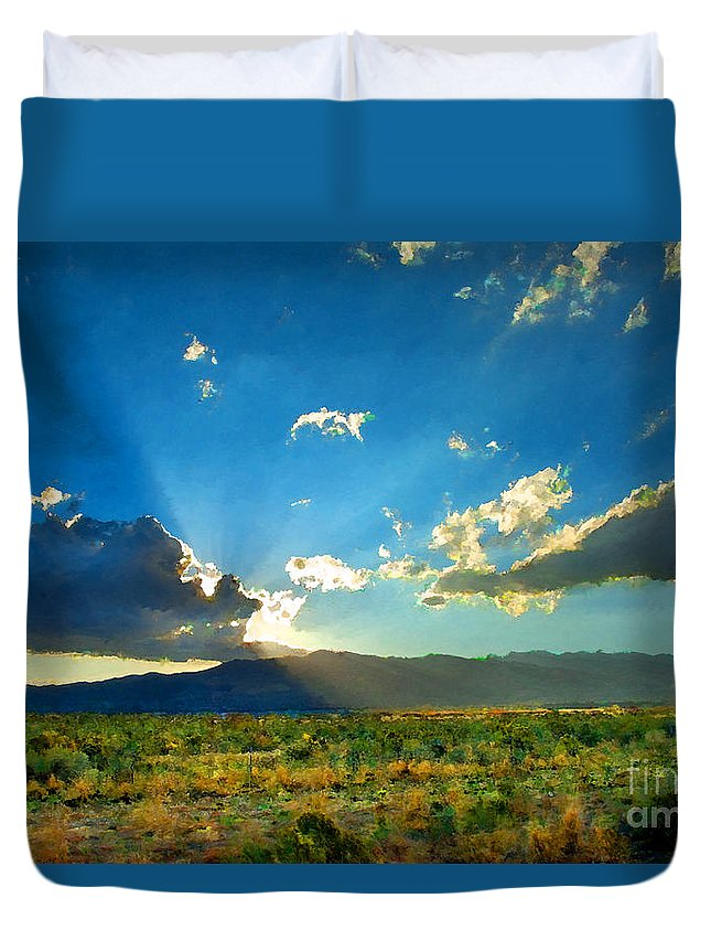 New Mexico Duvet Cover featuring the photograph New Mexico Desert by Betty LaRue