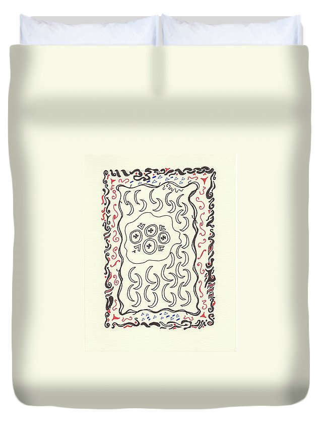 Drawing Duvet Cover featuring the drawing New Mexico Moon 4 by Catherine Helmick