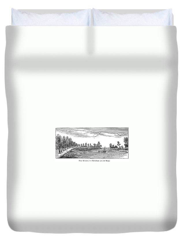 1719 Duvet Cover featuring the photograph New Orleans, 1719 by Granger