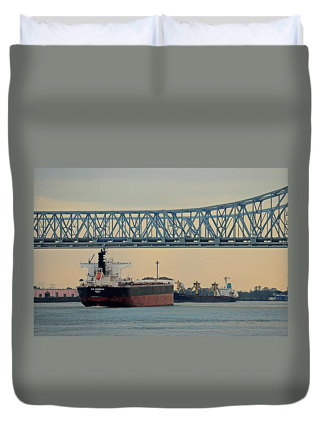 New Orleans Duvet Cover featuring the photograph New Orleans Bridge by Scott Rogers