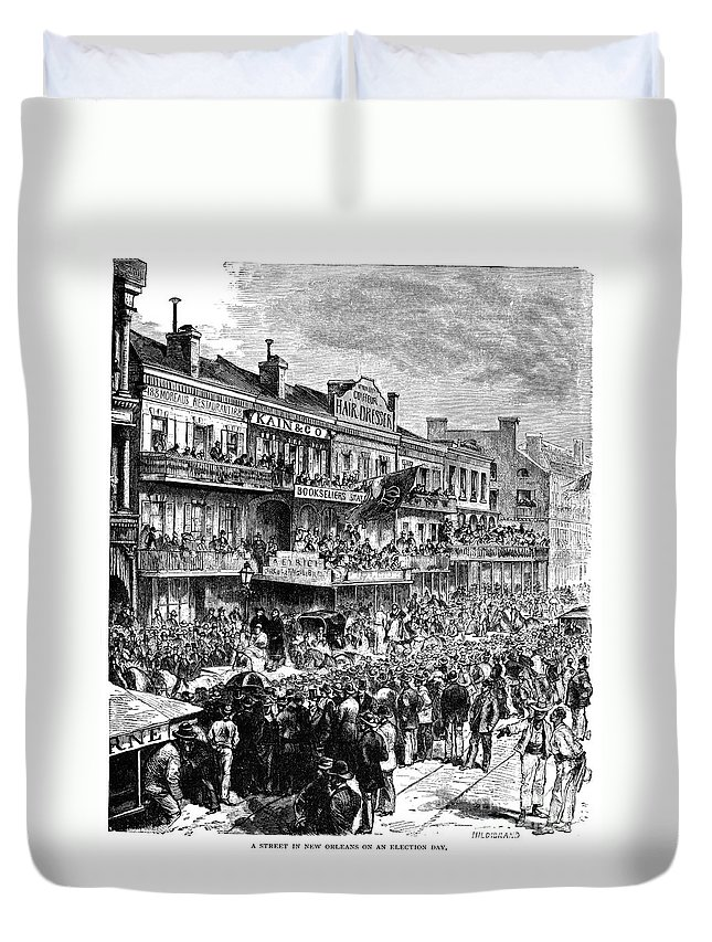 1862 Duvet Cover featuring the photograph New Orleans Streetscene by Granger