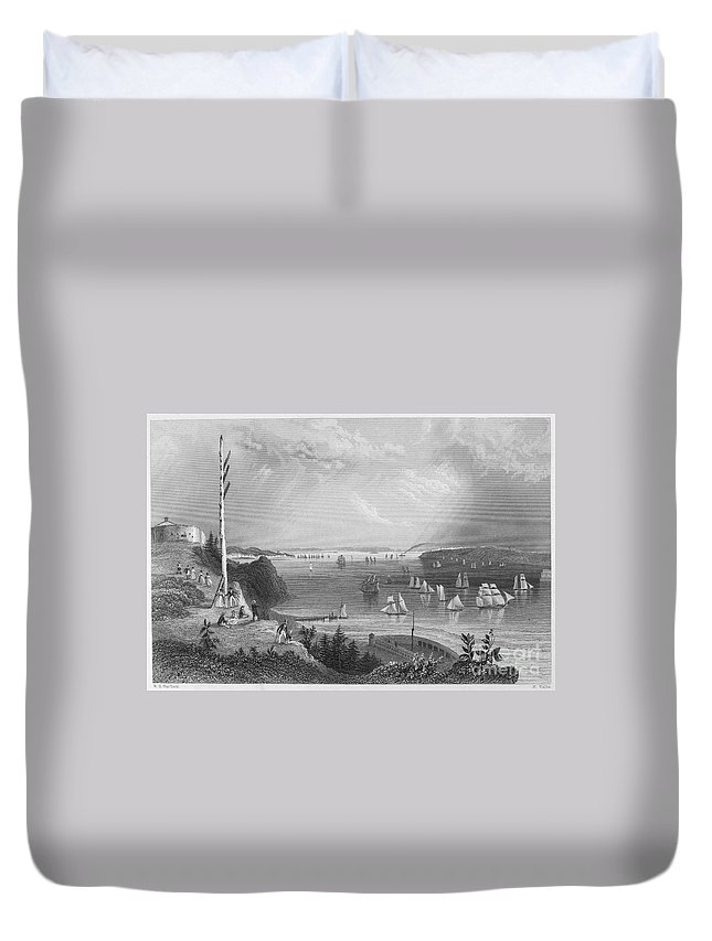 1838 Duvet Cover featuring the photograph New York Bay, 1838 by Granger