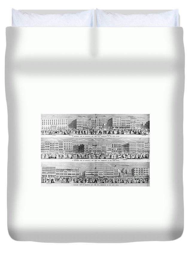 1851 Duvet Cover featuring the photograph New York: Broadway, 1851 by Granger