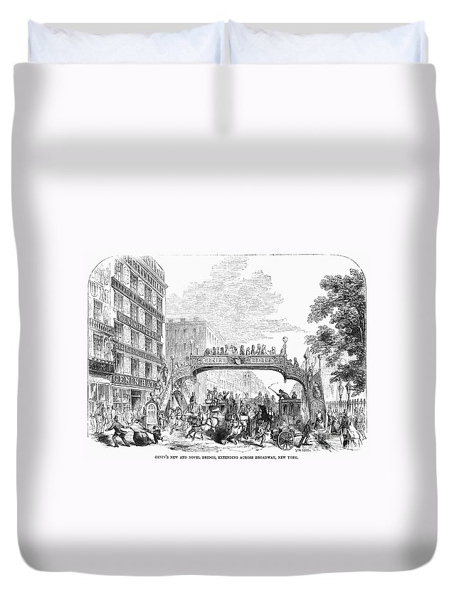 1852 Duvet Cover featuring the photograph New York: Broadway, 1852 by Granger