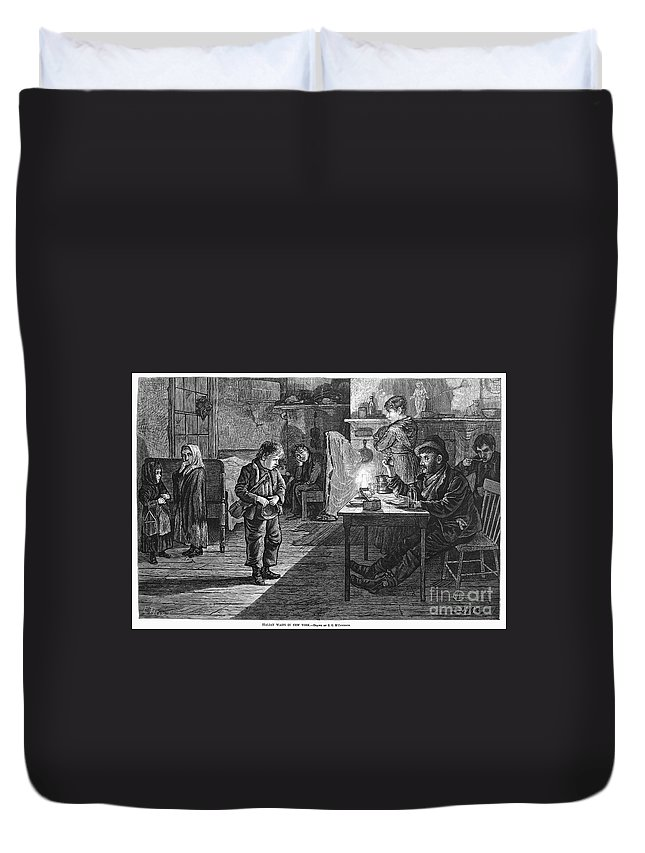 1878 Duvet Cover featuring the photograph New York: Child Musician by Granger