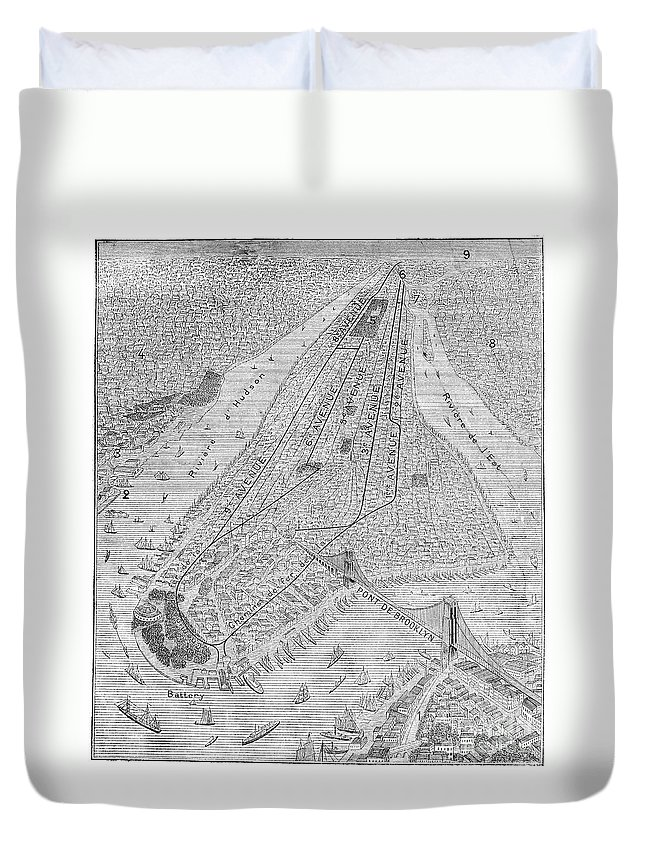 1878 Duvet Cover featuring the photograph New York: El Train, C1878 by Granger