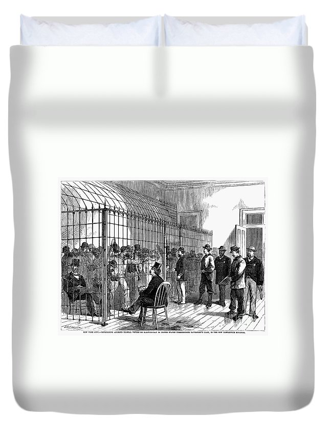 1870 Duvet Cover featuring the photograph New York: Illegal Voters by Granger