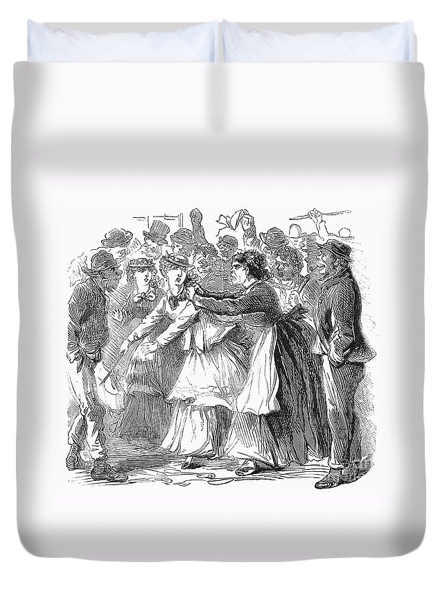1870 Duvet Cover featuring the photograph New York: Orange Riot by Granger