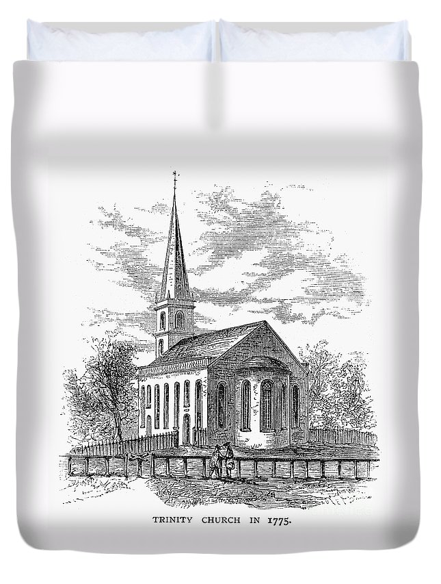 1775 Duvet Cover featuring the photograph New York: Trinity Church by Granger