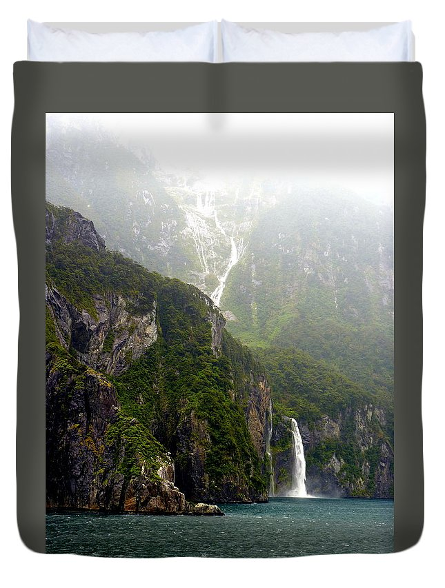 Milford Duvet Cover featuring the photograph New Zealand's Milford Sound by Carla Parris