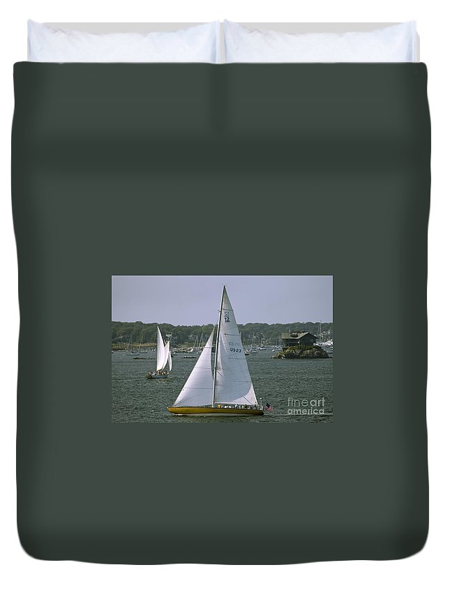 Sailboats Duvet Cover featuring the photograph Newport Sailing by Tim Mulina