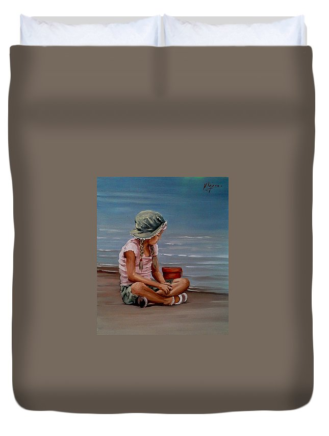 Seascape Duvet Cover featuring the painting Next To The Shore by Natalia Tejera