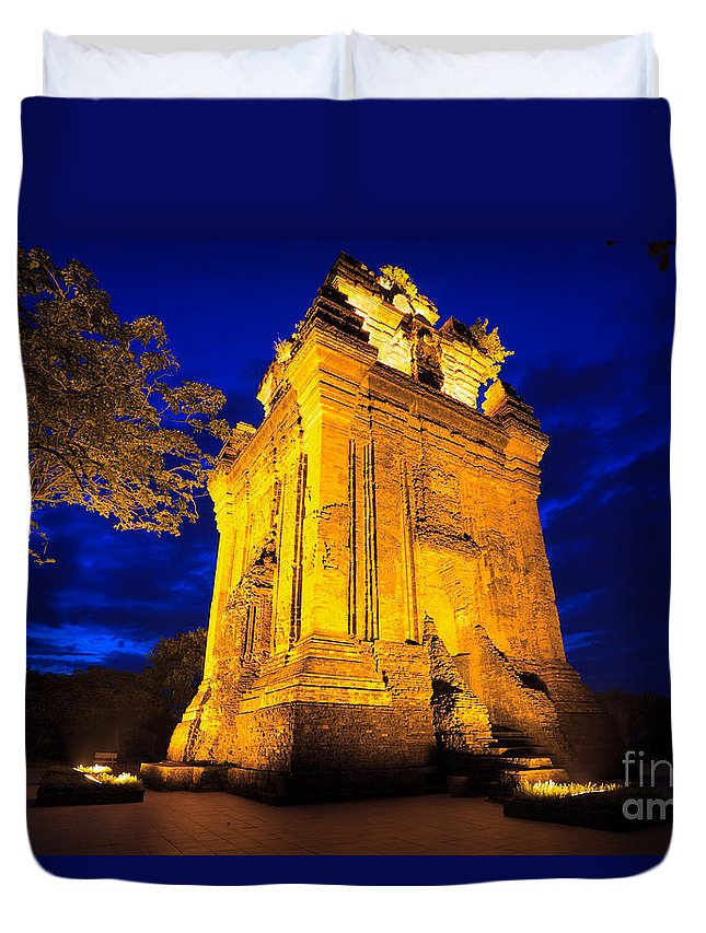 Cham Duvet Cover featuring the photograph Nhan Tower. by MotHaiBaPhoto Prints