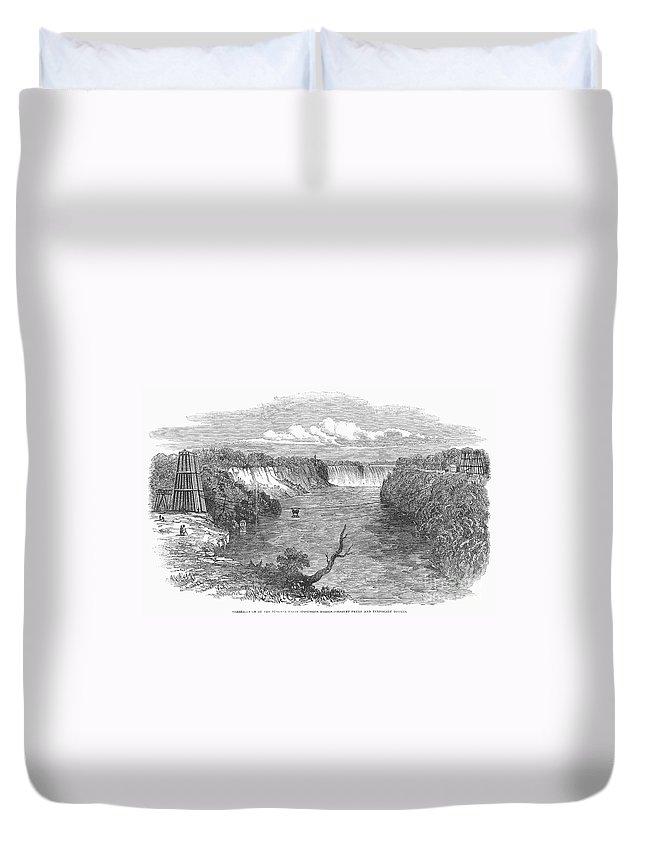 1849 Duvet Cover featuring the photograph Niagara Falls, 1849 by Granger
