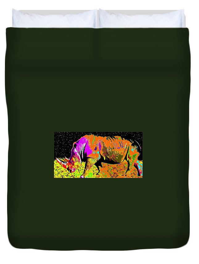 Art Duvet Cover featuring the painting Night Of The Rhino by David Lee Thompson