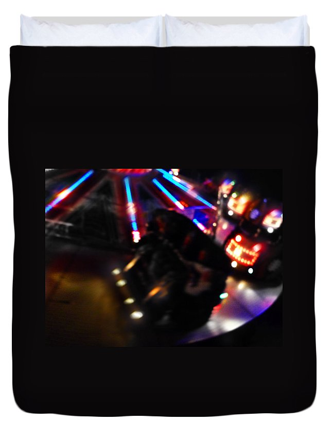 Fairground Ride Duvet Cover featuring the digital art Night Vision by Charles Stuart