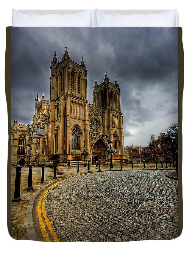Cathedral Duvet Cover featuring the photograph No Parking by Adrian Evans