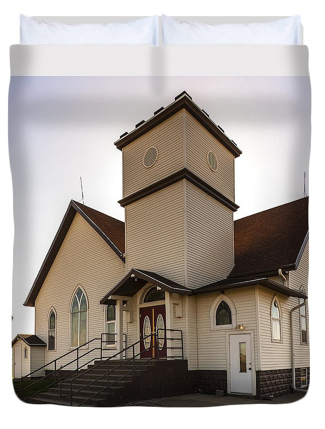 Rural School Duvet Cover featuring the photograph Noble Church by Edward Peterson