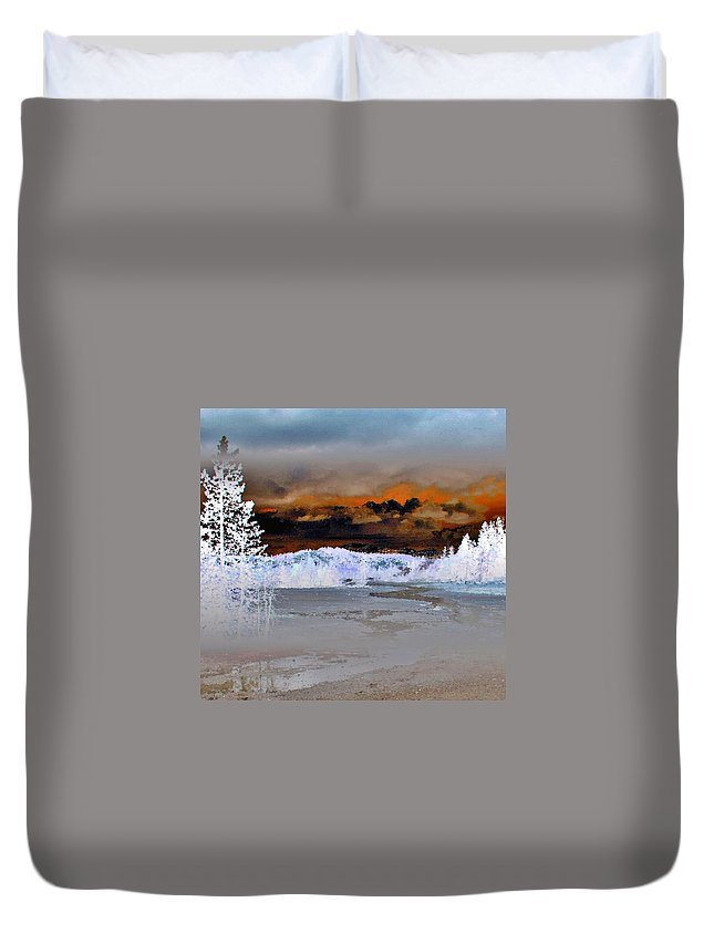 Abstract Duvet Cover featuring the photograph Norris Geyser Basin Abstract by Ellen Heaverlo
