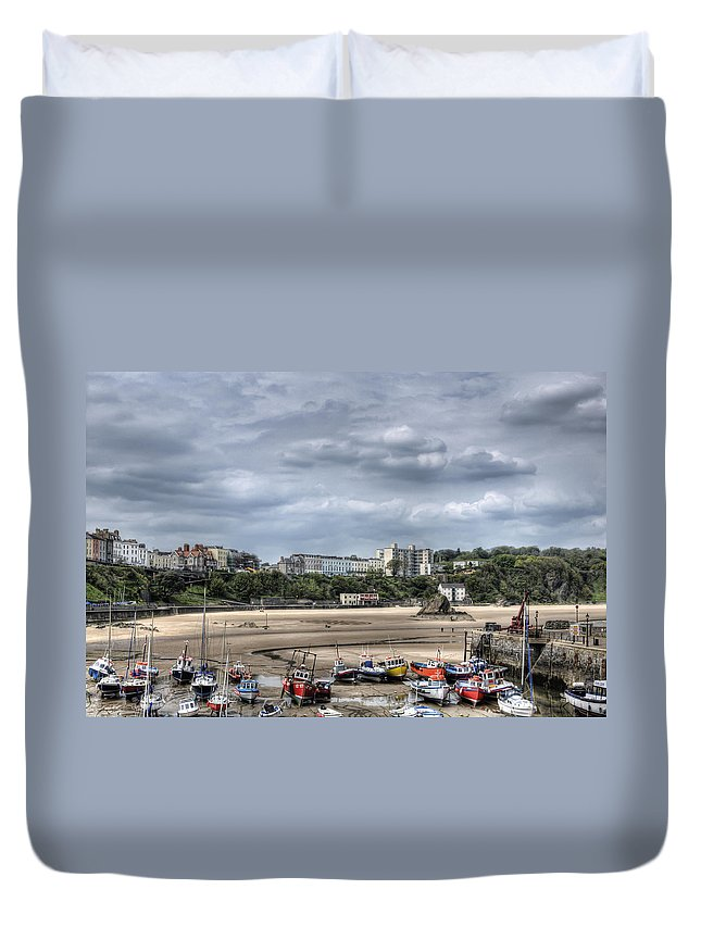 Tenby Pembrokeshire Duvet Cover featuring the photograph North Beach From Tenby Harbour by Steve Purnell
