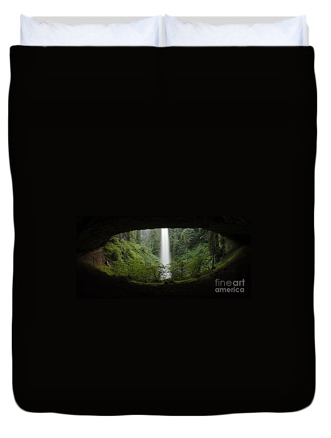 North Falls Duvet Cover featuring the photograph North Falls Oregon 2 by Bob Christopher