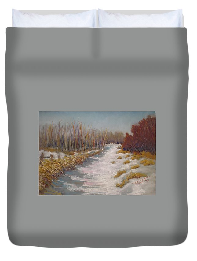 Snow Duvet Cover featuring the painting Northern Alberta Vista by Mohamed Hirji