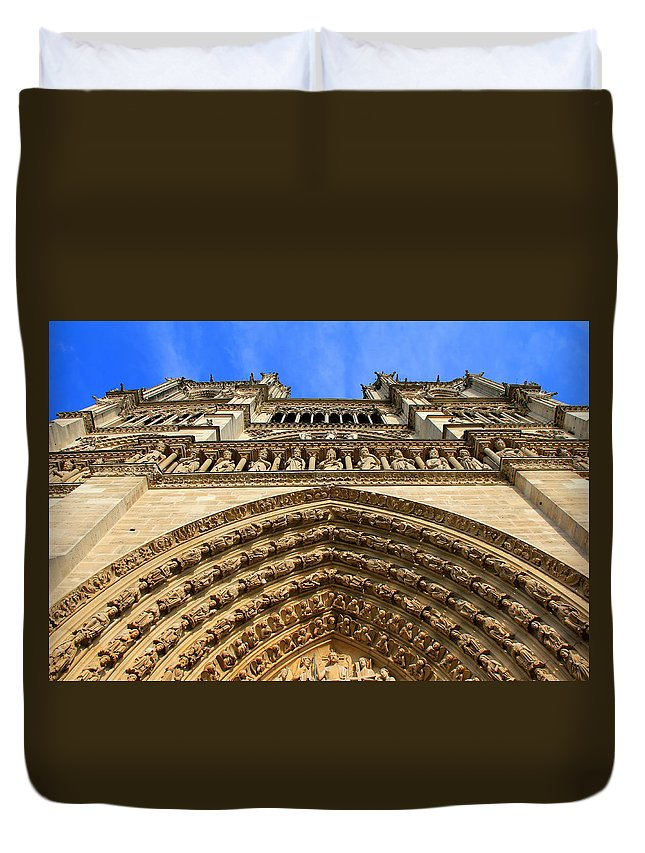 Notre Dame Cathedral Duvet Cover featuring the photograph Notre Dame Details 7 by Andrew Fare