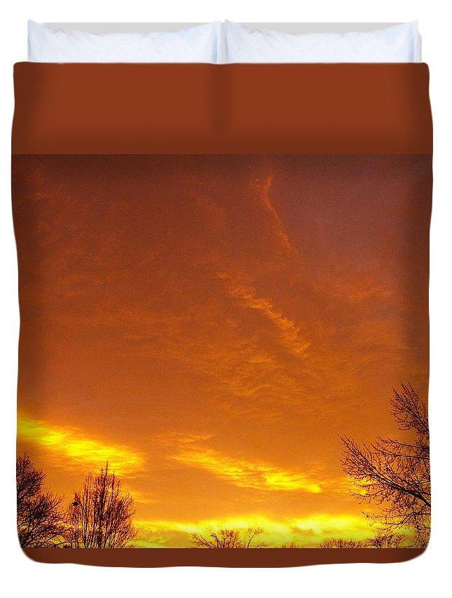 'sunrise Art Print' Duvet Cover featuring the photograph November Sunrise by James BO Insogna