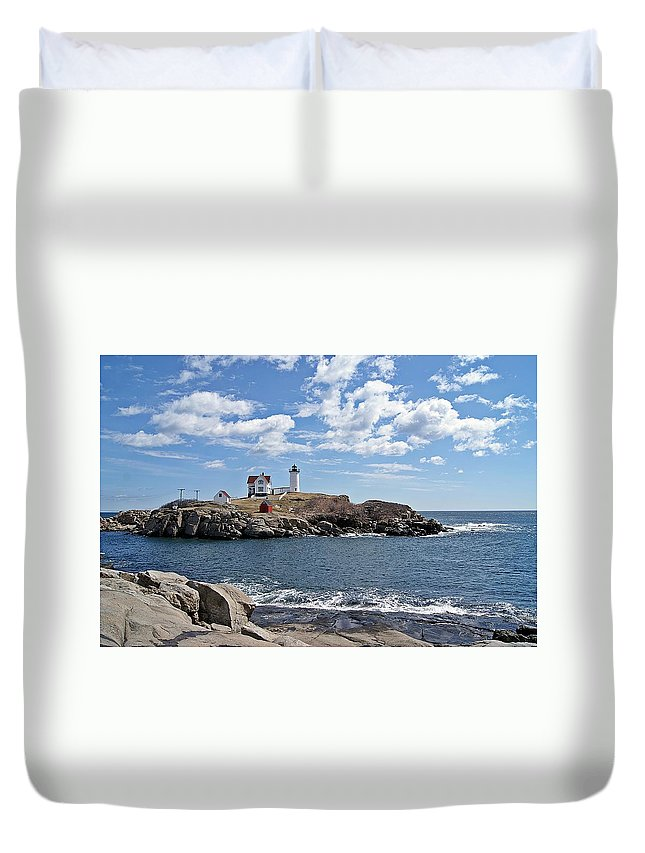 Nubble Light Duvet Cover featuring the photograph Nubble Light II by Joe Faherty