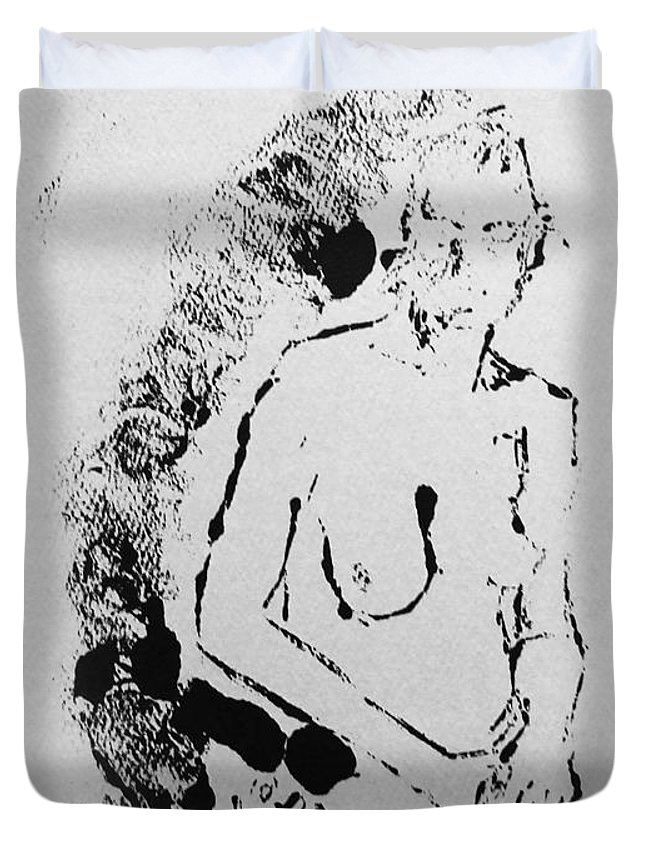 Intaglio Etching Duvet Cover featuring the painting Nude Young Female That Is Mysterious In A Whispy Atmospheric Hand Wringing Pose Highly Contemplative by M Zimmerman