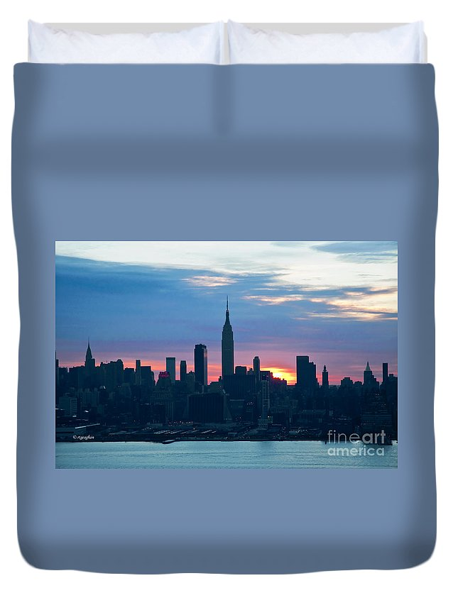 Ny Skyline Duvet Cover featuring the photograph Ny Skyline Blue Dawn by Regina Geoghan