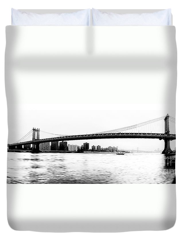 Ny Duvet Cover featuring the photograph Nyc - Manhattan Bridge by Hannes Cmarits