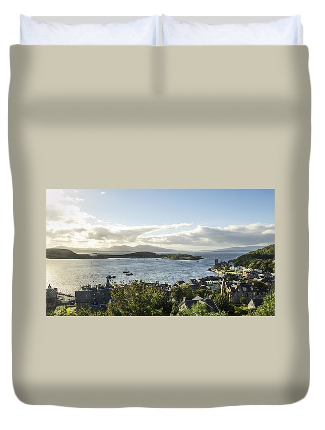 Oban Duvet Cover featuring the photograph Oban Bay View by Chris Thaxter