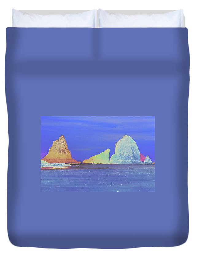 Water Duvet Cover featuring the photograph Oceanside Rocks by One Rude Dawg Orcutt