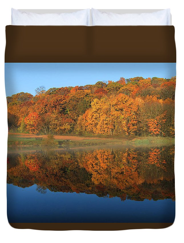 Reflection Duvet Cover featuring the photograph October Scene by Karol Livote